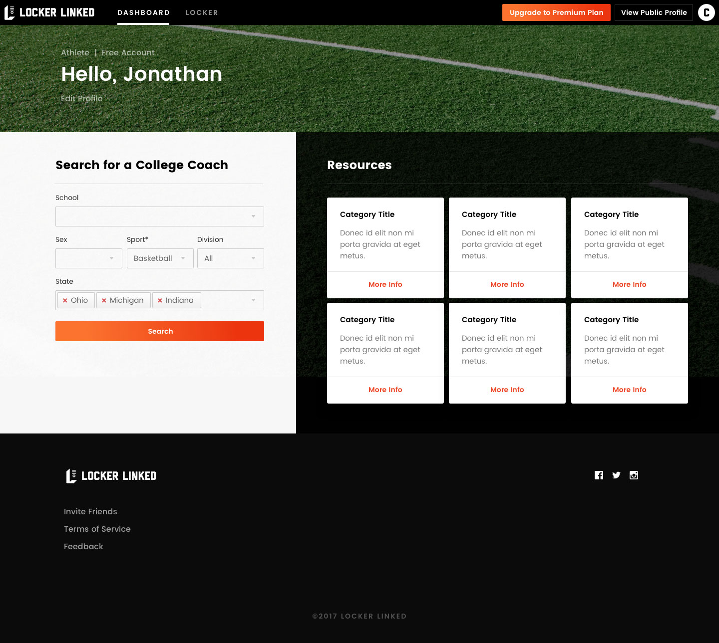 Locker Linked User Dashboard Screenshot