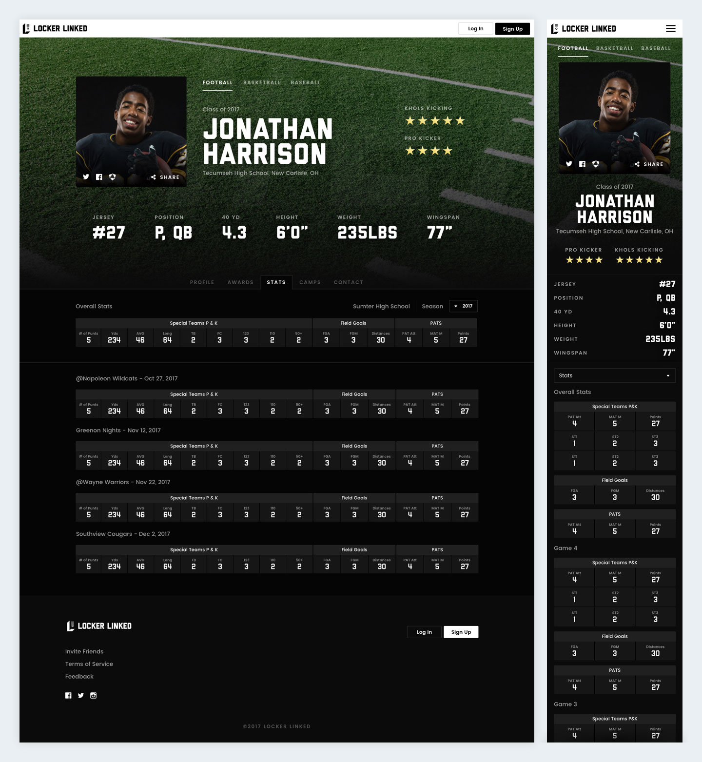 Locker Linked Athlete Profile Screenshot