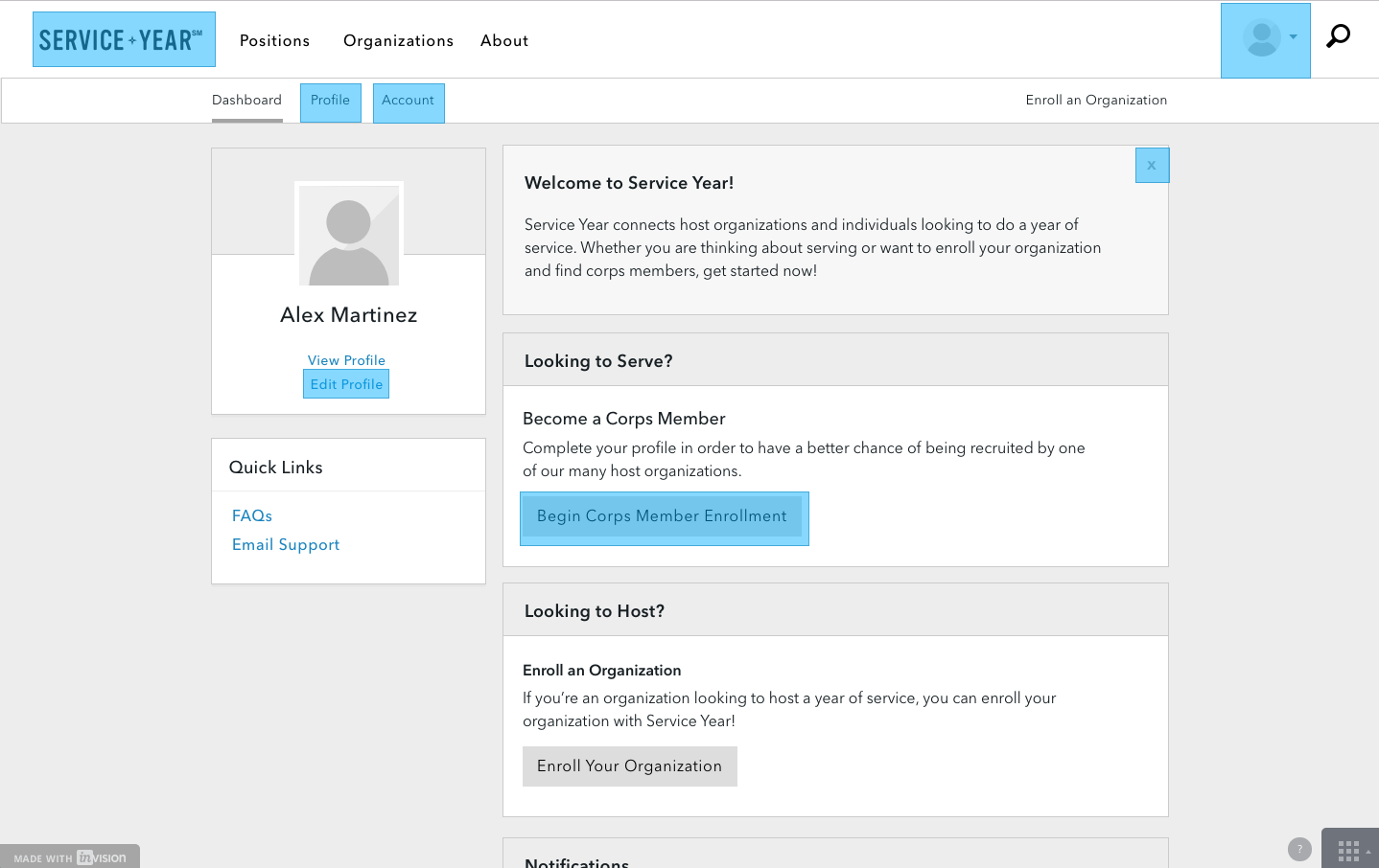 Service Year Invision Prototype Screenshot