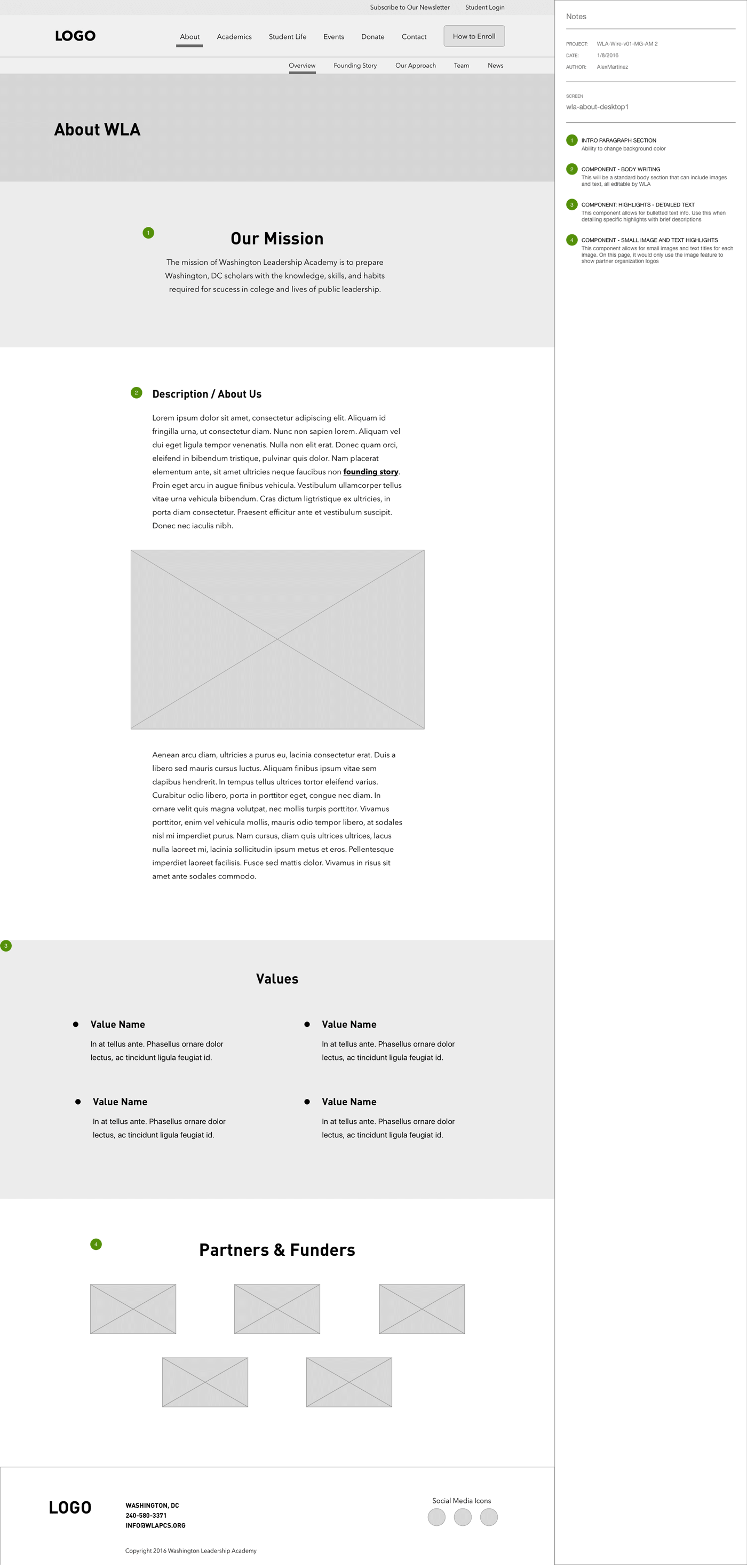 Wireframe of WLA's About Page