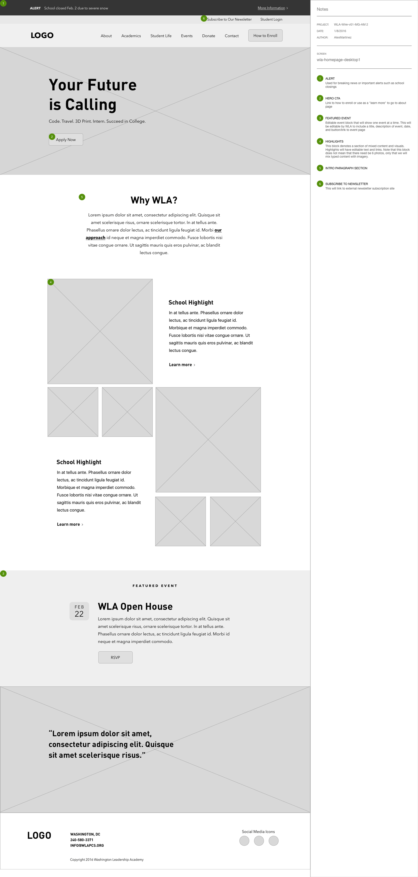 Wireframe of WLA's Home Page